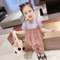 suit Other / other Green, red 90cm (recommended height about 90cm), 100cm (recommended height about 100cm), 110cm (recommended height about 110cm), 120cm (recommended height about 120cm), 130cm (recommended height about 130cm) female summer Korean version Short sleeve + pants 2 pieces Thin money