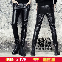Leather pants black 1 ℃ only - III / degree unique - I Youth fashion trousers Tight fitting spring PU leisure time youth PU tide Three dimensional tailoring Solid color