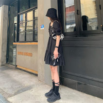 Women's large Summer 2020 black S,M,L,XL street Solid color Soaino 18-24 years old Short skirt neutral