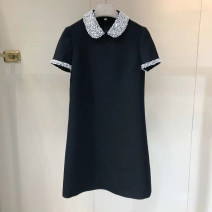 Dress Summer 2021 Black, white S,M,L Short skirt singleton  Short sleeve commute Polo collar High waist Solid color zipper A-line skirt routine Others 25-29 years old Type A Ol style Diamond inlay M056 31% (inclusive) - 50% (inclusive) brocade cotton