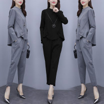 Women's large Winter 2020, autumn 2020 Black, gray L [recommended 100-115 kg], XL [recommended 115-135 kg], 2XL [recommended 135-150 kg], 3XL [recommended 150-165 kg], 4XL [recommended 165-180 kg], 5XL [recommended 180-200 kg] T-shirt Two piece set commute easy moderate Socket Long sleeves Crew neck