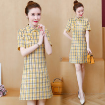 Dress Summer 2020 yellow S,M,L,XL,2XL,3XL,4XL,5XL Short skirt singleton  Short sleeve commute stand collar middle-waisted Socket 30-34 years old Type A Scattered Retro