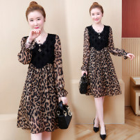 Women's large Spring of 2019, autumn of 2019 coffee Dress singleton  easy thin Socket Long sleeves Leopard Print Crew neck Medium length polyester Collage Lace stitching Medium length