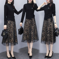 Women's large Winter 2020, autumn 2020 8803 leopard print, 8834 wave point L recommended 100-115 kg, XL recommended 115-130 kg, 2XL recommended 130-145 kg, 3XL recommended 145-160 kg, 4XL recommended 160-180 kg, 5XL recommended 180-200 kg Dress singleton  commute easy moderate Long sleeves Decor