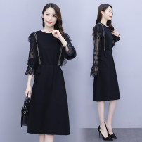 Dress Spring 2021 Black, priority delivery of collection shopping cart M,L,XL,2XL,3XL,4XL longuette singleton  Long sleeves commute Crew neck High waist Dot zipper Ruffle Skirt routine Others 30-34 years old Type H Scattered Lace stitching knitting