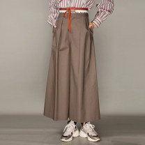 Casual pants Dark grey, Khaki 1 = XS, 2 = s, 3 = m, 4 = L, 5 = XL Spring 2021 trousers Wide leg pants High waist commute 96% and above O'amash banner Bandage cotton