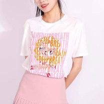 T-shirt white 2 = s, 3 = m, 4 = L, 5 = XL Summer 2021 Short sleeve Crew neck easy Regular commute cotton 51% (inclusive) - 70% (inclusive) originality letter Pinge Dixin printing