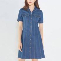 Dress Summer 2021 Blue, light blue 2 = s, 3 = m, 4 = L, 5 = XL Short skirt singleton  Short sleeve commute tailored collar Single breasted A-line skirt Pinge Dixin More than 95% Denim