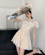 Dress Spring 2021 White love lace skirt S,M,L Short skirt singleton  Short sleeve High waist 18-24 years old Type A Other / other