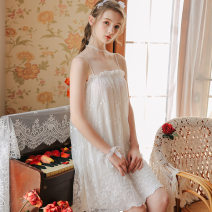 Nightdress Other / other white S,M,L,XL Sweet camisole pajamas Middle-skirt summer Solid color youth nylon More than 95% Mesh fabric