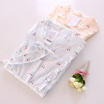 Pajamas / housewear set female Other / other S,M,L,XL cotton Short sleeve Sweet pajamas summer routine V-neck Plants and flowers Socket youth one-piece garment Mosaic decoration Middle-skirt