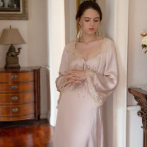 Nightdress Other / other Lotus root Pink S,M,L,XL Simplicity Long sleeves pajamas longuette autumn Solid color youth V-neck
