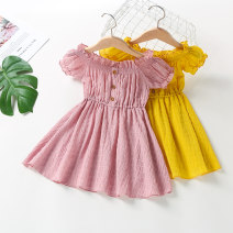Dress Pink, yellow female Fairy feet 90cm,100cm,110cm,120cm,130cm Other 100% summer princess Short sleeve Solid color cotton Pleats Class B 18 months, 2 years old, 3 years old, 4 years old, 5 years old, 6 years old, 7 years old, 8 years old Chinese Mainland Guangdong Province Foshan City