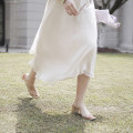 skirt Spring 2020 XS,S,M Beige Mid length dress commute High waist A-line skirt Solid color Type A More than 95% Chiffon polyester fiber Simplicity