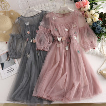 Dress Summer 2020 Gray, apricot, white, lotus root powder Average size Middle-skirt Two piece set Short sleeve commute Crew neck High waist Socket Princess Dress bishop sleeve Type A 30% and below