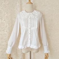 shirt Milky white, black XS,S,M,L,XL,2XL polyester fiber 96% and above Long sleeves Original design Regular Doll Collar Straight cylinder