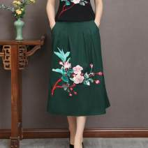 skirt Summer of 2019 M,L,XL Dark green, Navy, black Middle-skirt commute Natural waist A-line skirt Type A 3133# 51% (inclusive) - 70% (inclusive) other Other / other hemp ethnic style