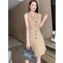 Dress Winter 2020 Ginger, black S,M,L,XL Short skirt singleton  Sleeveless commute tailored collar High waist Solid color zipper A-line skirt routine Others 30-34 years old Type A Simplicity Button More than 95% other polyester fiber