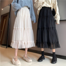 skirt Winter 2020 Average size Apricot, black longuette commute High waist Cake skirt Solid color Type A 18-24 years old Y polyester fiber Splicing Korean version