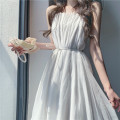 Dress Summer 2020 Black, white S,M,L Middle-skirt singleton  One word collar camisole Bowknot, stitching, lace up, sequins