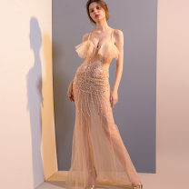 Dress / evening wear Wedding, adulthood, party, company annual meeting M,L,XS,XL,S G1211 champagne sexy longuette High waist Autumn 2020 A-line skirt Deep collar V zipper Rayon 26-35 years old G1211 Sleeveless Diamond ornament Solid color Hundred show celebrities other Resin drill