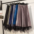 skirt Winter of 2019 S,M,L,XL Black, army green, peacock blue, light gray, light coffee Mid length dress Versatile High waist Pleated skirt Solid color Type A Man Yichen Pleats, gauze, stitching 201g / m ^ 2 (including) - 250G / m ^ 2 (including)
