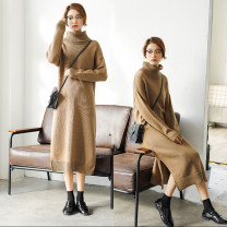 sweater Autumn 2020 S,M,L,XL Black, brown, grey pink Long sleeves Socket singleton  Medium length other 51% (inclusive) - 70% (inclusive) High collar thickening commute routine Solid color Straight cylinder Regular wool Keep warm and warm