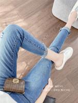 Jeans Spring 2021 blue 26,27,28,29 trousers Natural waist Pencil pants routine Wear, wash, flanging, zipper, button, multi pocket, metal decoration Cotton elastic denim light colour 96% and above