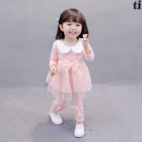 suit Other / other female spring and autumn princess Long sleeve + pants 2 pieces routine There are models in the real shooting Socket nothing Solid color cotton children Expression of love 6 months, 12 months, 9 months, 18 months, 2 years, 3 years, 4 years