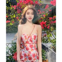 Dress Summer 2021 Main graph color S,M,L Mid length dress singleton  Sleeveless Sweet One word collar High waist Solid color Socket One pace skirt other camisole 18-24 years old Type A backless 91% (inclusive) - 95% (inclusive) other polyester fiber Bohemia