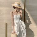 Dress Summer 2021 Off white S,M,L Mid length dress singleton  Sleeveless Sweet One word collar High waist Solid color Single breasted A-line skirt other Breast wrapping 25-29 years old Type A 8770# 31% (inclusive) - 50% (inclusive) other cotton Bohemia