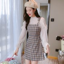 Dress Spring 2021 Two piece set S,M,L,XL Short skirt Two piece set Long sleeves commute Crew neck High waist lattice other A-line skirt pagoda sleeve Others Type A Sandro asw lady 91% (inclusive) - 95% (inclusive) other