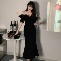 Dress Summer 2021 black M [80-100 Jin], l [100-120 Jin], XL [120-140 Jin], 2XL [140-160 Jin], 3XL [160-180 Jin], 4XL [180-200 Jin] Mid length dress singleton  Short sleeve commute One word collar High waist Solid color zipper other other 25-29 years old Type A Retro Lace stitching other