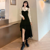 Dress Winter 2020 Suspender skirt, shirt M [85-100 Jin], l [100-115 Jin], XL [115-130 Jin], 2XL [135-150 Jin], 3XL [150-170 Jin], 4XL [170-200 Jin] Mid length dress Two piece set Long sleeves Sweet Polo collar middle-waisted Solid color zipper Irregular skirt puff sleeve 25-29 years old Type A other