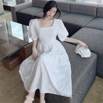 Dress Spring 2020 White, blue M [85-100 Jin], l [100-115 Jin], XL [115-130 Jin], 2XL [135-150 Jin], 3XL [150-170 Jin], 4XL [170-200 Jin] Mid length dress singleton  Short sleeve commute square neck High waist Solid color A-line skirt puff sleeve Others 25-29 years old Type A lady Chiffon