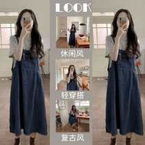 Women's large Spring 2021 Single strap skirt / Tender and tender , Grey T-shirt + Two piece suit with strap skirt Other oversize styles Two piece set commute easy moderate Socket Short sleeve Solid color Korean version Crew neck routine Three dimensional cutting routine jqDNl WanChen pocket other