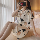 Pajamas / housewear set female Other / other M,L,XL,XXL Iced silk Short sleeve Sweet Leisure home summer Thin money Small lapel Cartoon animation shorts double-breasted youth 2 pieces rubber string More than 95% silk printing