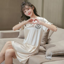 Outdoor casual clothes Tagkita / she and others DWX_ 303 silk short sleeve skirt letter love - Champagne female 101-200 yuan 160(M),165(L),170(XL),175(XXL) other Short sleeve summer V-neck Medium length
