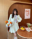 Fashion suit Spring 2021 S, M Green apricot 18-25 years old Academy style short skirt suit