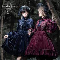 【 LX 】 velvet First lady Autumn and winter keep warm classical Lolita thistles and thorns rose OP Dress Lingxi