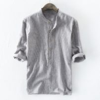 shirt Others other XXXXL,XXL,M,L,XL,XXXL Plush and thicken Gray, light blue, dark blue, apricot, do not support domestic retail (this item) stand collar Long sleeves Extra wide Other leisure Four seasons 20330 stripe