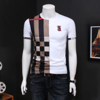 T-shirt Youth fashion White, black routine Versace solid Short sleeve Crew neck standard daily summer teenagers routine tide 2021 stripe