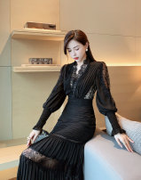 Dress Winter 2020 Pink, black, white S,M,L longuette singleton  Long sleeves commute V-neck High waist Solid color zipper Princess Dress bishop sleeve Others 25-29 years old Type A Splicing 31% (inclusive) - 50% (inclusive) Lace polyester fiber