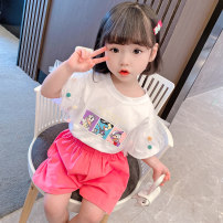 suit Other / other Watermelon red, green 80cm,90cm,100cm,110cm,120cm,130cm female summer Korean version Short sleeve + pants 2 pieces Thin money There are models in the real shooting Socket stripe cotton children Expression of love Cotton 90% other 10%