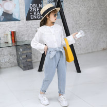 trousers Other / other female 110cm,120cm,130cm,140cm,150cm,160cm blue spring trousers Korean version There are models in the real shooting Jeans Leather belt High waist cotton Don't open the crotch Cotton 90% other 10% qqeegqi