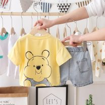 suit Other / other White, yellow 80cm,90cm,100cm,110cm,120cm neutral summer leisure time Short sleeve + pants 2 pieces routine No model Socket nothing Cartoon animation cotton children Expression of love Class A Cotton 90% other 10% Chinese Mainland