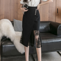 skirt Spring 2021 S,M,L,XL,2XL,3XL,4XL,5XL black Mid length dress commute High waist skirt Solid color Type X 18-24 years old N 51% (inclusive) - 70% (inclusive) knitting Viscose Ruffle, asymmetric, button, zipper, stitching, resin fixation, lace Korean version