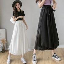 Casual pants White, blue, black S,M,L,XL Summer 2021 Ninth pants Wide leg pants High waist commute Thin money 18-24 years old Y1 Korean version fold