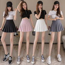 skirt Spring 2021 S,M,L,XL,2XL Gray, white, black, pink Short skirt Versatile High waist A-line skirt Solid color Type A 18-24 years old H