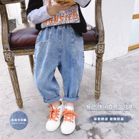 trousers Udbaby / udbaby neutral blue spring and autumn trousers leisure time There are models in the real shooting Jeans Leather belt middle-waisted Denim Open crotch 12 months, 18 months, 2 years old, 3 years old, 4 years old, 5 years old, 6 years old